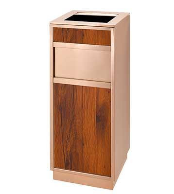 玫瑰金室内仿木垃圾桶