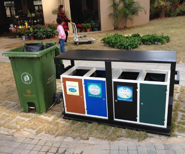分類垃圾桶標識可回收與不可回收垃圾區分