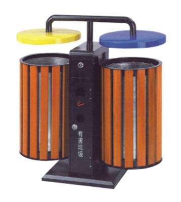 立式双桶钢木分类垃圾箱