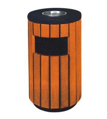 景区圆形钢木垃圾桶