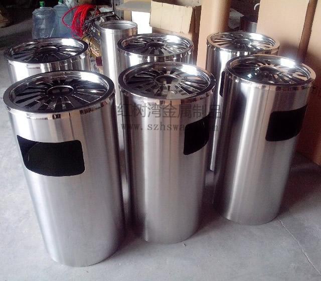 深圳万达广场圆形不锈钢垃圾桶采购案例