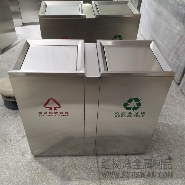 宁波万达摇盖式不锈钢室内分类垃圾桶采购案例