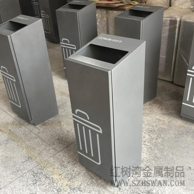 深圳高档写字楼创意室内方形不锈钢垃圾桶采购案例