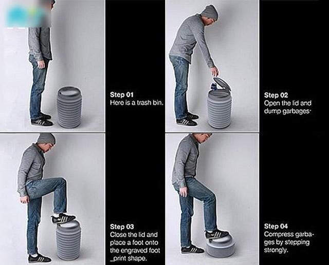 创意可压缩垃圾桶的小发明