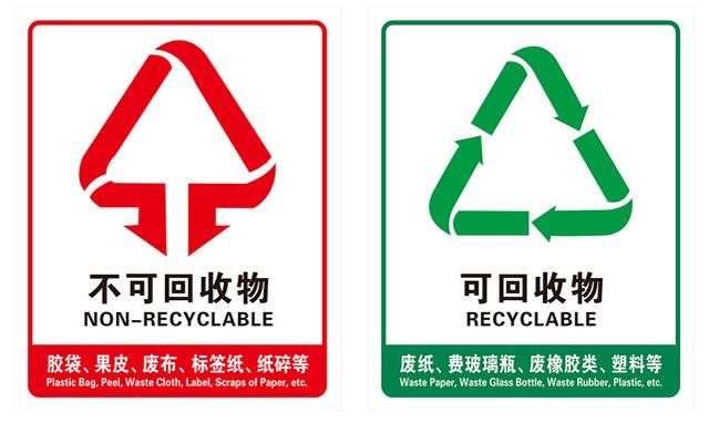 丝印分类垃圾桶标识图片