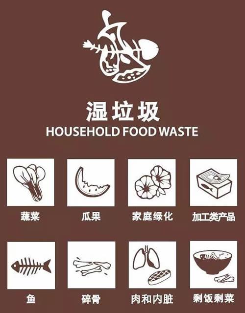 分类垃圾桶的湿垃圾和干垃圾