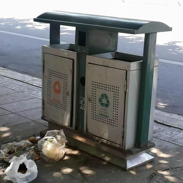 户外钢制果皮箱不能啥垃圾都扔