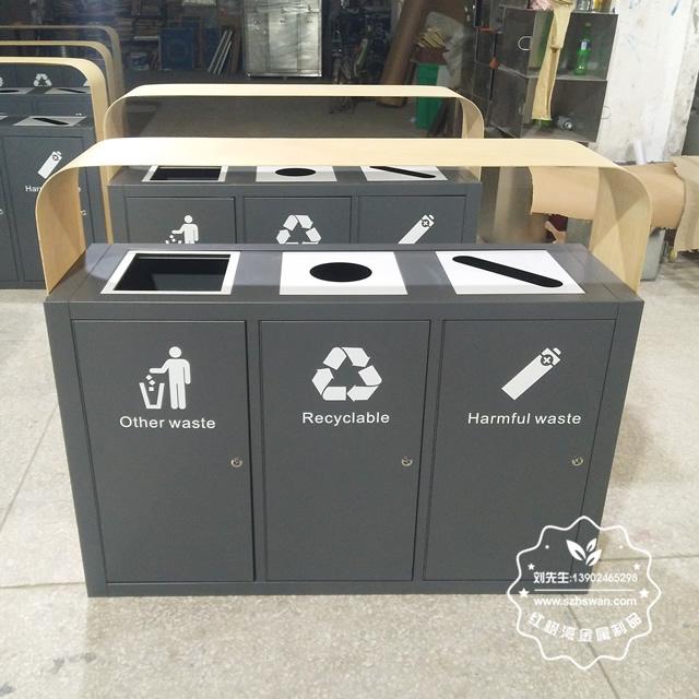 景区仿木纹不锈钢分类垃圾桶工艺
